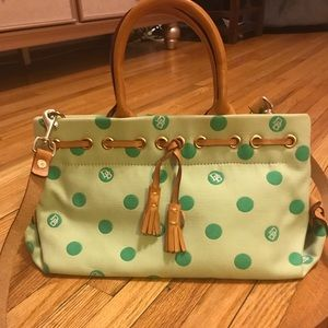 Mint green polka dot Dooney Bourke purse